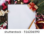 letter to santa claus with... | Shutterstock . vector #516206590
