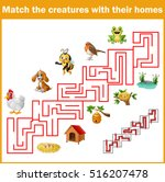 match creatures with their... | Shutterstock . vector #516207478