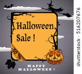 halloween frame with evil... | Shutterstock .eps vector #516207676