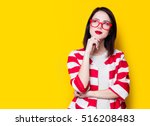 portrait of a yung style woman... | Shutterstock . vector #516208483