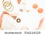 flat lay for fashion blog and... | Shutterstock . vector #516214120
