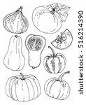 set of vegetables. fresh food.... | Shutterstock .eps vector #516214390
