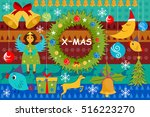 vector illustration of snowman... | Shutterstock .eps vector #516223270