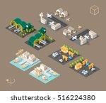 set of isolated isometric... | Shutterstock .eps vector #516224380