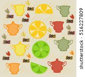 set fruit tea with lemon and... | Shutterstock .eps vector #516227809
