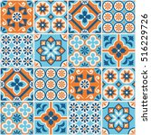 decorative blue and orange tile ... | Shutterstock .eps vector #516229726