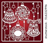 christmas card with bells for... | Shutterstock .eps vector #516232996