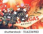 Vegas Gambling Concept. Las Vegas Casino Games Concept Illustration. - stock photo