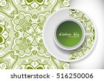 cup of green tea with doodle... | Shutterstock .eps vector #516250006
