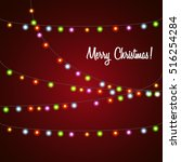 christmas and new year light... | Shutterstock .eps vector #516254284