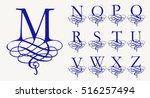 vintage set 2. calligraphic... | Shutterstock .eps vector #516257494
