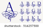 vintage set 1. calligraphic... | Shutterstock .eps vector #516257500