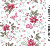 seamless floral pattern with... | Shutterstock .eps vector #516258610