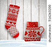 knitted christmas stocking and... | Shutterstock .eps vector #516263200