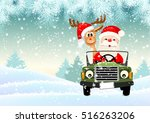 santa with his reindeer driving ... | Shutterstock .eps vector #516263206