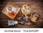 two glasses with ice and... | Shutterstock . vector #516264289