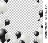 black and white helium balloons ... | Shutterstock .eps vector #516268114