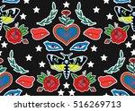 seamless pattern. butterfly ... | Shutterstock .eps vector #516269713