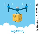 delivery drone with the package.... | Shutterstock .eps vector #516275578
