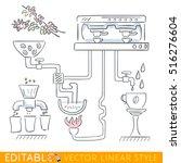 coffee production conveyor.... | Shutterstock .eps vector #516276604