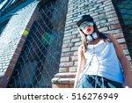 a beautiful young hip hop...   Shutterstock . vector #516276949