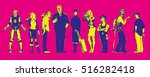 set of comic book characters on ... | Shutterstock .eps vector #516282418