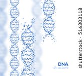 abstract blue dna helix with... | Shutterstock .eps vector #516303118