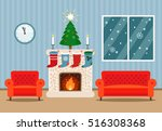 christmas card with fireplace... | Shutterstock .eps vector #516308368
