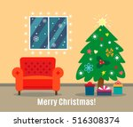 christmas card with fireplace... | Shutterstock .eps vector #516308374