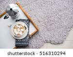 warm cozy home. tray and cup of ... | Shutterstock . vector #516310294