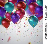 colorful balloons and holiday... | Shutterstock .eps vector #516316684