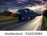 truck transportation at sunset | Shutterstock . vector #516323083