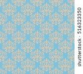 damask blue seamless pattern.  | Shutterstock . vector #516323350