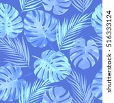tropical leaves of palm tree.... | Shutterstock .eps vector #516333124
