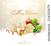christmas background with... | Shutterstock .eps vector #516333679