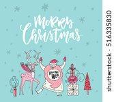 handdrawn vector christmas card ... | Shutterstock .eps vector #516335830