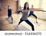 yoga practice exercise class... | Shutterstock . vector #516336370