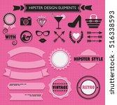 hipster feminine black... | Shutterstock .eps vector #516338593