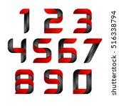 vector 3d number set logo with... | Shutterstock .eps vector #516338794