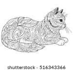 Cat Coloring Book Page. Ethnic...