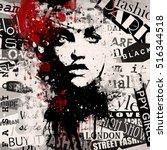 fashion woman on grunge...   Shutterstock . vector #516344518