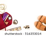 flat lay for fashion blog and... | Shutterstock . vector #516353014