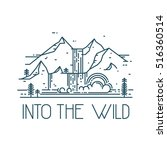 into the wild. line mountain... | Shutterstock . vector #516360514