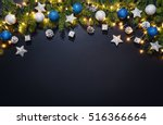 christmas decoration background ... | Shutterstock . vector #516366664