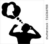 silhouette of a man dreaming | Shutterstock .eps vector #516366988