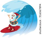 cartoon santa claus surfing a... | Shutterstock .eps vector #516367894