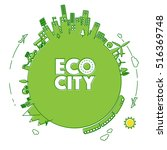 green eco city with electric... | Shutterstock .eps vector #516369748