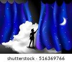 peter pan story  boy standing... | Shutterstock .eps vector #516369766