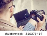 young photographer viewing... | Shutterstock . vector #516379414