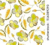 various hibiscus hawaiian... | Shutterstock . vector #516389293